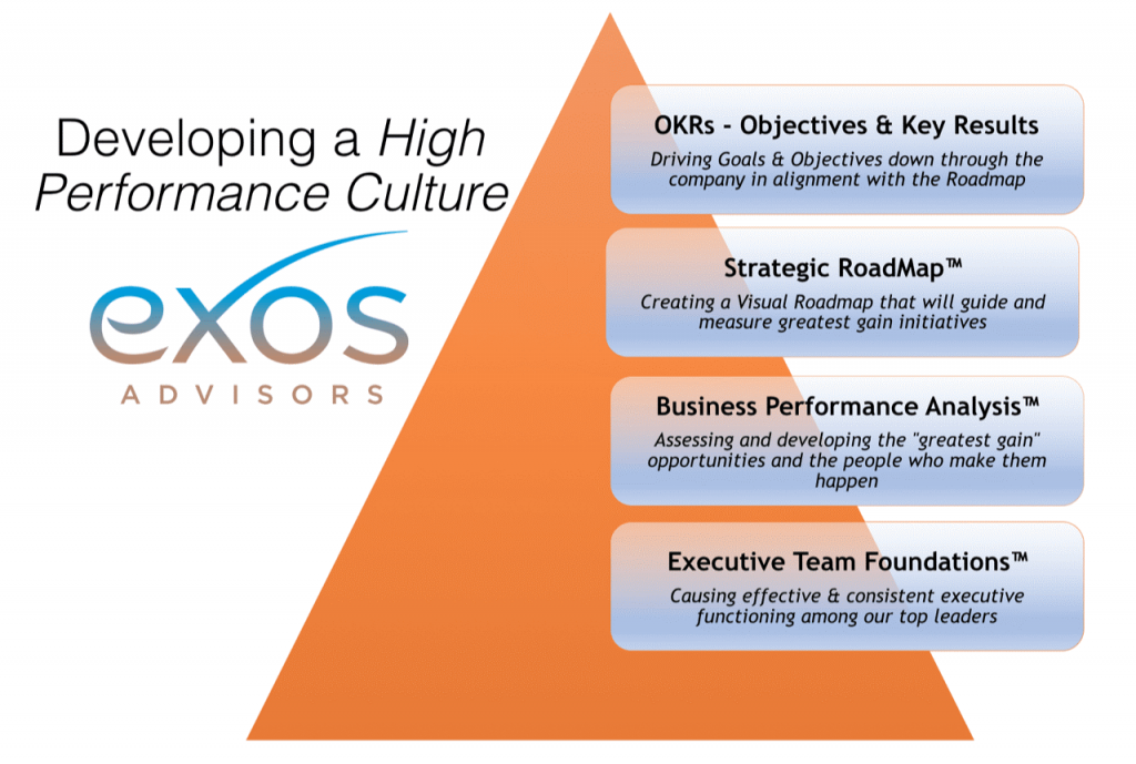 Graphic showing the four basic steps Exos business strategy consultants follow to provide high performance results